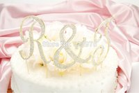metal letters - 1 Piece Monogram Gold Plated Metal Diamante Letter Wedding Cake Topper More Letterings