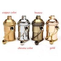Compra Portaplumas antiguos-Soporte de lámpara de cobre antiguo E26 / E27 de la lámpara de Edison Soporte de lámpara de metal ligero retro de la vendimia del desván del desván