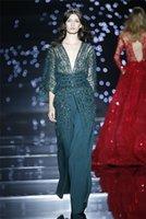 Cheap Crystal Beaded Zuhair Murad Evening Dresses Sleeves 2015 Latest Design Floor Length Sheath Chiffon Deep V-neck Sheer Tulle Prom Dress