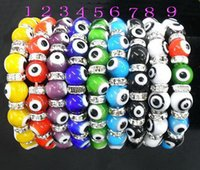 Wholesale Turkish Turkey Murano Glass Evil eyes Rhinestone Bracelet Beads Mix Color Elasticity
