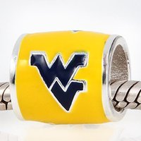 west virginia - 925 Sterling Silver European Beads Yellow Enamel West Virginia Fit Pandora Bracelet In Necklaces And Pendants