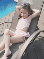 beach babies swimwear - Summer New children s swimsuits baby girls lace love heart falbala siamese swimwear kids spa beach swimsuits yellow pink Amber7268