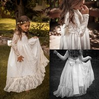 Wholesale Sweety Jewel Lace Flower Girls Dresses Long Sleeves Cheap White Floor Length A Line Ribbon Bows Nicely Sheer Neck Formal Occasion Gowns