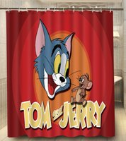 Wholesale Tom And Jerry Happy Face Cartoon Print x180cm Waterproof Custom Shower Curtain High Quality Polyester Bath Curtain