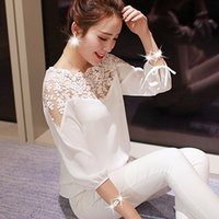 Cheap Plus Size XXL Women Chiffon Blouse 2015 New Summer Style Three Quarter Sleeve White Black Female Shirt Ladies Lace Blouse
