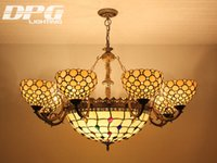 antique stained glass - Stained Glass Lampshade Baroque Pendant Light Antique Novelty Creative Art Tiffany Light Coffee Bar Hotel Chandelier eight lights