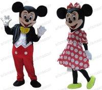 De disfraces para adultos traje de la mascota 100% personaje de dibujos animados fotos reales Adulto Mickey Mouse y Minnie Mouse