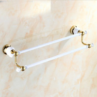 bath rack white - And Retail Luxury White Golden Solid Brass Towel Rack Holder Dual Towel Bars Wall Mounted Towel Hangers