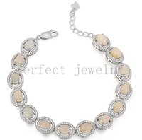 Wholesale Opal chain bracelet Natural real opal sterling silver plated k white gold Perfect Jewelry DH