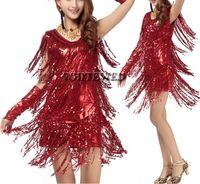 al por mayor vestidos de salsa-Borla de las mujeres del salón de baile latino franja cha cha salsa rumba samba jive competencia ropa de baile trajes de disfraces para la venta V del cuello