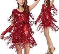 al por mayor vestidos de salsa-Mujeres franja borla latina salón de baile salsa cha cha Samba rumba jive dancewear competencia disfraces trajes para la venta V cuello