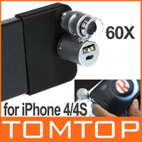Wholesale For iPhone S X Mini Microscope Magnifier Jewelers Loupe with LED Light Drop Shipping