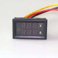 amp meter wiring - DC V A Volt Amp Meter in1 Three wires Voltage Current Monitor Meter with Red Blue LED Dual display