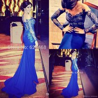 Wholesale Long Sleeve Prom Dreses - Lace Sheer Neck Formal Dresses Evening Gowns With Long Sleeves Prom Dreses Party Evening Gowns Mermaid Off The Shoulder Royal Blue