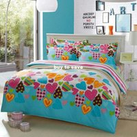 Wholesale FAST SHIPPING color hearts printed queen size kids pc bedding set include Duvet cover bedsheet Pillow sham free fast shipping