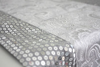 Wholesale luxury fashion glitter silver elegant table runner pattern flags