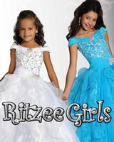 Wholesale 2015 New Crystal Girl s Pageant Dresses With Off Shoulder Beads Ruffles Ball Gown Organza Custom Red White Princess Flower Girl Child Gowns