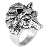 Wholesale Wolf Head Ring Gothic Punk Rock Titanium Steel Casting Ring Men s Rings Hot Series Darth Vader Lion Antelope