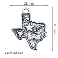 american austin - Vintage Alloy Texas Austin Map Charms American State Map Charms AAC971
