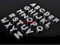 Wholesale 1300pcs mm DIY Charms A Z full rhinestone Slide letters Charm Fit mm wristband pet collar