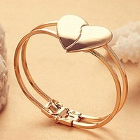 Wholesale 2015 New Women Love Heart Bracelet Gold Plated Multilayer Chain Cuff Bangle Gift