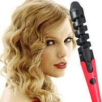 Wholesale New Black Red Electric Magic Hair Styling Tool Rizador De Pelo Hair Curler Roller Pro Spiral Curling Iron Wand Curl Styler