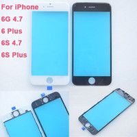 Wholesale 50PCS DHL A Outer Glass Lens with Middle Bezel for iPhone g Plus S S Plus Front Glass Frame Housing