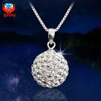 ball of crystals - Shiny Full of Genuine Austrian Crystal Ball Shambhala Pendant Necklace Trendy Sterling Silver Necklace for Women ZN002