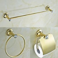 Wholesale Contemporary Golden Crystal Brass Piece Bathroom Accessories Set Towel Bar and Towel Ring and Tissue Holder
