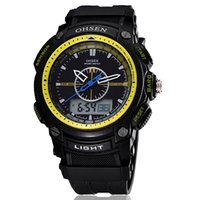 Men's acrylic hand display - new Ohsen sport watch Wristwatch mens boy digital dual time display dive fashion popular yellow silicone hand watches
