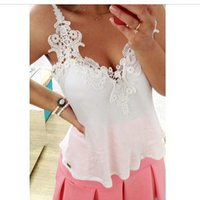 Cheap Wholesale-Sexy Lace Patchwork Solid Chiffon Halter Camis Sling Tops V Neck Sleeveless Women Vest Plus Size S - 3XL
