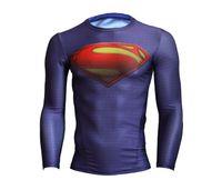 compression shirt - New men sports compressed t shirts men fitness long sleeve superman batman t shirt clothing compression tights esporte camisetas