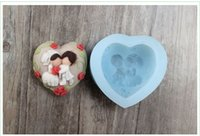 Wholesale Soap Molds Heart Shape - R1004 food grade quality, lovers heart-shaped soap mold silicone mold chocolate mold fondant wedding cake decoration candle molds