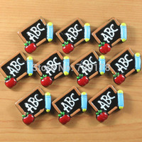 apple abc - 600pcs colors ABC Letter in the Blackboard Apple Pencil Back to School Students Cabochons Resin Flatbacks DIY REY393