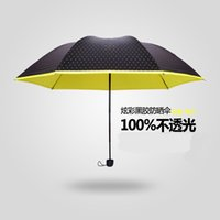 Wholesale Han Guochao light anti UV umbrella wave black rubber pencil folding umbrella Princess super sunscreen