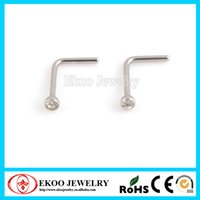 Wholesale 316L Surgical Steel L Shaped Nose Stud Screw with Crystal Indian Nose Stud of