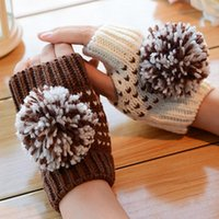 ab gloves - Korea AB lovely big balls warm winter wool gloves fingerless half gloves ladies