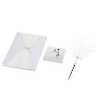 Gros-Romatic Guest Pen et livre élégant ensemble en satin bowknot strass brillant Embarqués souple Feather Décorer Pen Fournitures de mariage