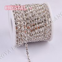 Wholesale 10yards Sparse Claw Silver Base High Quality Bright Strass SS6 SS38 Crystal Rhinestone Cup Chain For Garment Accessories