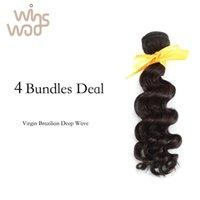 Wholesale Loose Deep Bundles - 7A Unprocessed Virgin Hair Brazilian deep wave Bundles 4 Bundles Lot, Brazilian Virgin Hair loose Wavy Hair