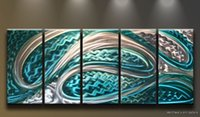 Cheap Metal Wall Art Abstract Modern Painting Decor Silver Blue Ocean Tunnel ---GF0