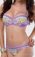 Cheap new Hollow high-grade embroidery candy colors Double fabric of sexy bandage Bikini four colours women swimwear swimsuit