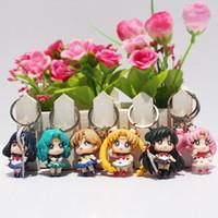 Wholesale Anime Sailor Moon Keychain Q Verison key chains Pendant Action Figures Toys set cm