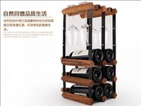 Wholesale Solid wood red glass shelves creative wine rack frame style wooden furnishing articles European wine