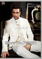 Wholesale shirt and pants set New Long Sleeve Men Complete Designer Groom Suits groom Wear Wedding Party Wear clothes pants tie vest