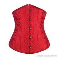 Wholesale 2015 hotsell Dobby waist training corsets and bustiers black underbust corset steel cincher bustiers for women steel boned short corselet