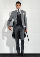 Wholesale Handsome Peak Lapel Groom Tuxedos Men s Wedding Dresses Prom Clothing Custom Made Jacket pants tie Vest