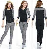 Cheap sports suit for women Casual zipper grid fashion sweatshirt pants suit sportswear Sweatshirt suit sport suit
