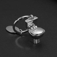 bath key chains - cute mini toilet keychains Bath gift alloy closestool key chain key rings fashion jewelry bag pendants store promotion gift