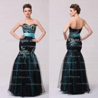 Cheap Mermaid Prom Dresses Peacock Applique Sweetheart Neck Lace Floor Length Prom Gowns Party Dresses Dhyz